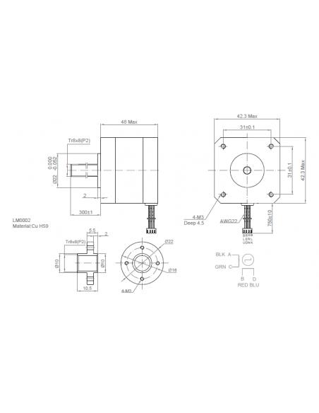 Kysan NEMA17 Stappenmotor 1124090 - 1.5A 5.5kg-cm Torque